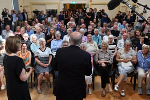 Prime Minister Scott Morrison at a public forum with senior citizens at the Springdale Hall in Drysdale near Geelong, Tuesday, April 16, 2019.
