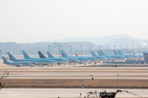 Planes of the national carrier Korean Air are grounded at Incheon international airport, South Korea.