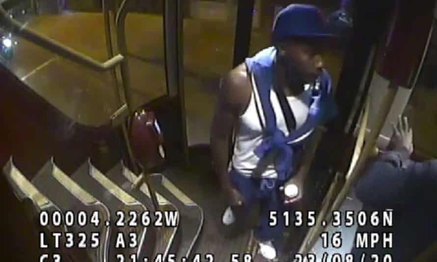 A CCTV image of the man police want to speak to after an NHS worker was attacked on a bus in north London.