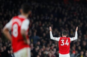 Arsenal's Granit Xhaka reacts angrily to boos from the home crowd as he is substituted.