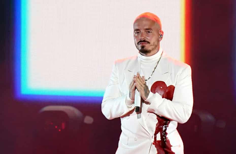 J Balvin performing at the 2020 Latin Grammys.