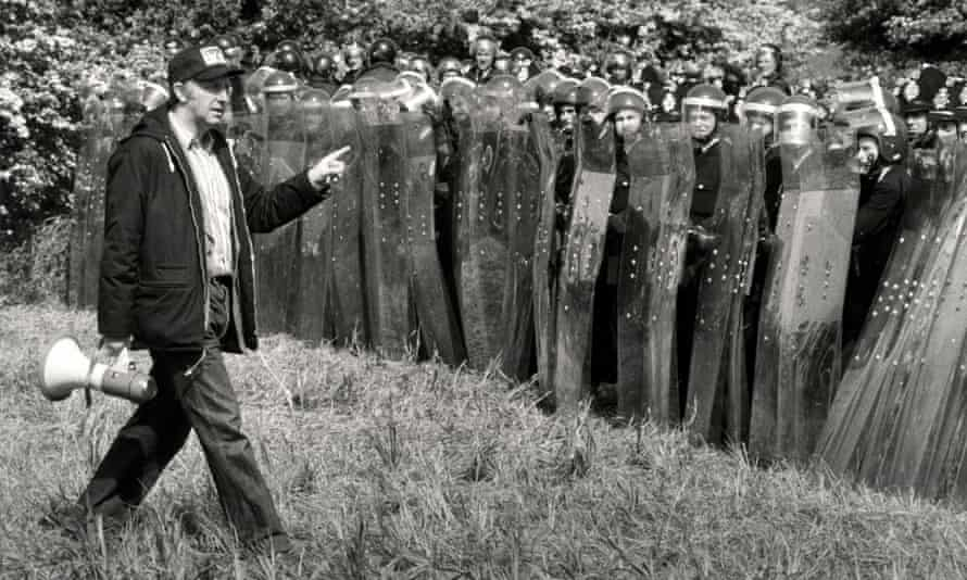 The NUM leader, Arthur Scargill, confronts police at the Battle of Orgreave in 1984.