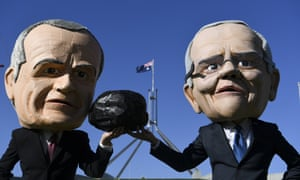 Protesters against the Adani coalmine dressed as Bill Shorten and Scott Morrison