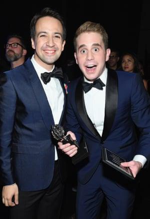 Lin Manuel-Miranda and Ben Platt at the Tony awards.