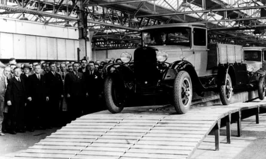 A truck rolls off the assembly line at Ford's factory in Dagenham in 1931.
