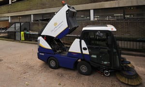 A Veolia road sweeper outside a depot in London