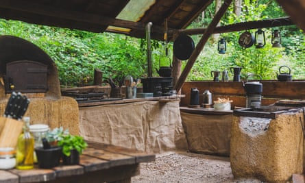 Cooking area, with pizza oven at Campwell, near Bath, UK