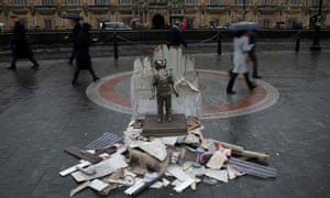A life-size statue of a child left today outside the Houses of Parliament as part of a demonstration by the charity Save The Children against the visit to the UK by Saudi Arabia's Crown Prince Mohammed bin Salman.