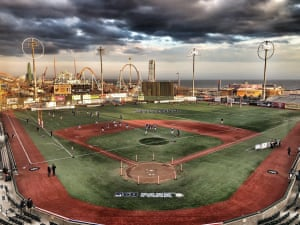 MCU Park in Coney Island, set up for rugby and a storm off the Atlantic.