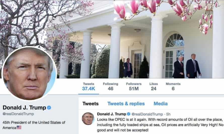 The masthead of Donald Trump's @realDonaldTrump Twitter account as seen on 20April 2018.