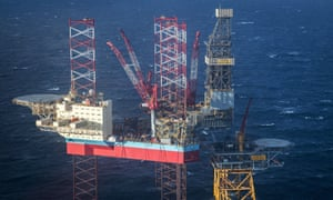 The jack-up rig Maersk Invincible, located in the middle of the North Sea.