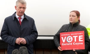 Gerard Coyne campaigning during the Unite leadership contest.