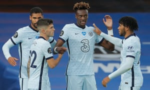 Chelsea's Tammy Abraham (second right) is congratulated by his teammates after scoring their third goal.