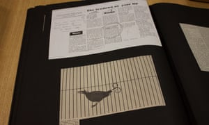 Listing review and cutting of photo of bird of paradise — page from Jane Bown's scrapbook GNM archive ref: JHB/6/5