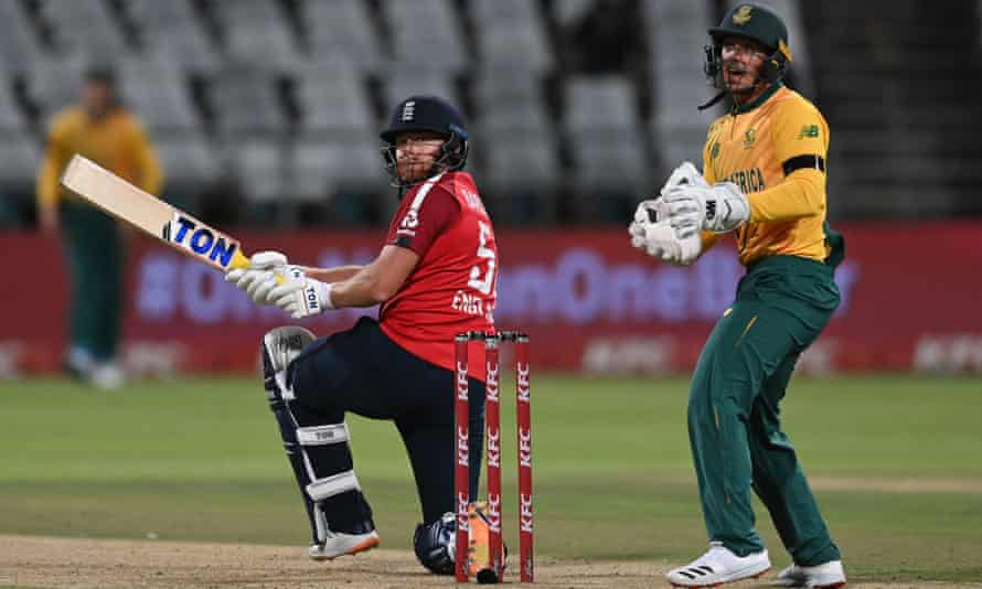 South Africa captain Quinton de Kock can only watch as Jonny Bairstow hits out to lead England to victory in the first T20 international at Newlands.