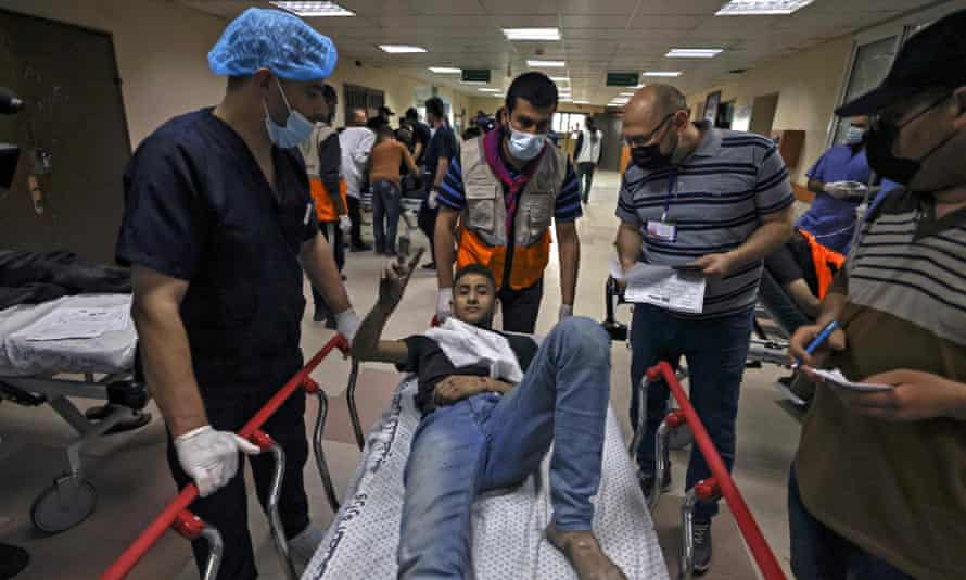 Injured man on hospital gurney