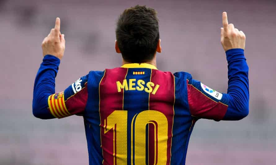 Lionel Messi, here celebrating after scoring against Celta Vigo in May, is extending his stay at Barcelona.
