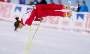 Cathy Féchoz of France does her routine during the 1992 Winter Olympics in Albertville, where ski ballet was a demonstration sport