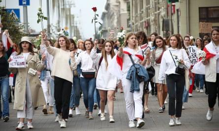 An opposition rally in Minsk, Belarus