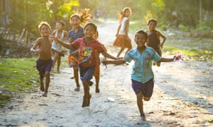 Running children on Majuli island