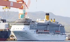 The cruise ship 'Costa Atlantica' is seen docked at a port in Nagasaki, southwestern Japan, 22 April 2020.