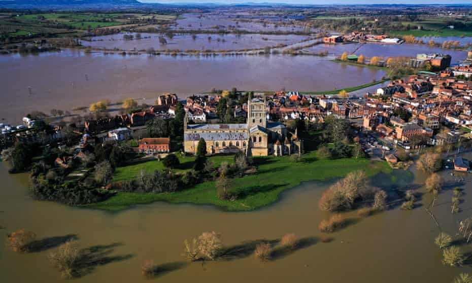 Flooding along the River Severn at Tewkesbury, February 2020