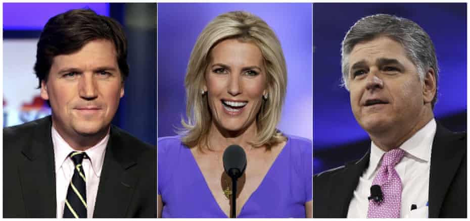 Tucker Carlson, Laura Ingraham and Sean Hannity of Fox News.