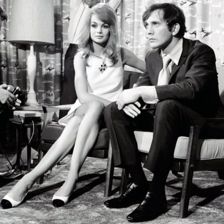 Jean Shrimpton and Terence Stamp at a press conference at Essendon Airport, Melbourne, for Melbourne Cup week.