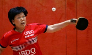 Luxembourg's China-born Ni Xialian practices her table tennis before coronavirus lockdowns.