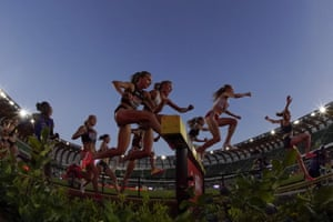 Runners compete in the women's 3000-metre steeplechase at the US Olympic track and field trials in Oregon