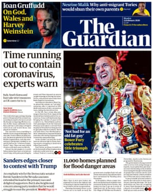 Guardian front page, Monday 24 February 2020