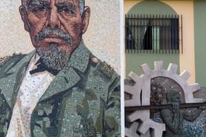 Mosaic of President Eloy Alfaro in Montecristi town square, Greater Manta area.Manta, Manabi, Ecuador, South America