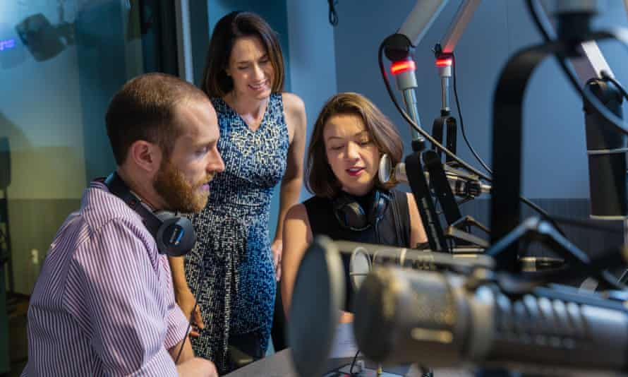 Aaron Mandelson, Evelyn Larubia and Annie Gilbertson creating the Repeat Podcast