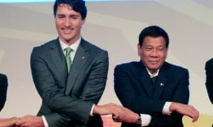 Canada's Prime Minister Justin Trudeau and Philippines' President Rodrigo Duterte during the Asean-Canada summit in the Philippines on November 2017.