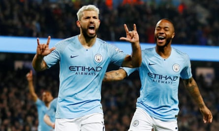 Manchester City's Sergio Agüero celebrates scoring what turned out to be the only goal in his side's victory over West Ham.