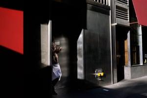 New York City – a waiter on a cigarette break