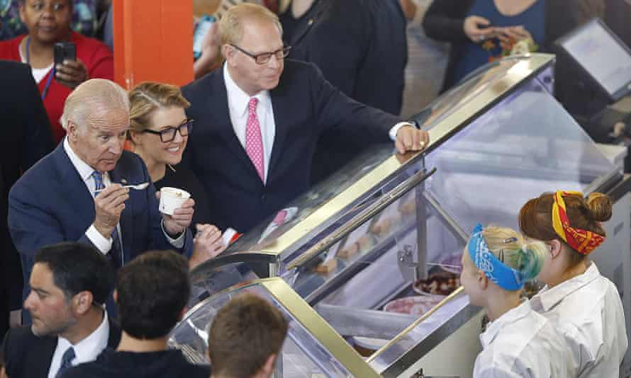 Vice-President Joe Biden and Jeni's Spendid Ice Cream's founder Jeni Britton Bauer order some ice cream from her shop in the North Market in Columbus on Wednesday.