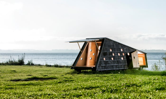 Shelters by the sea on the South Funen islands.