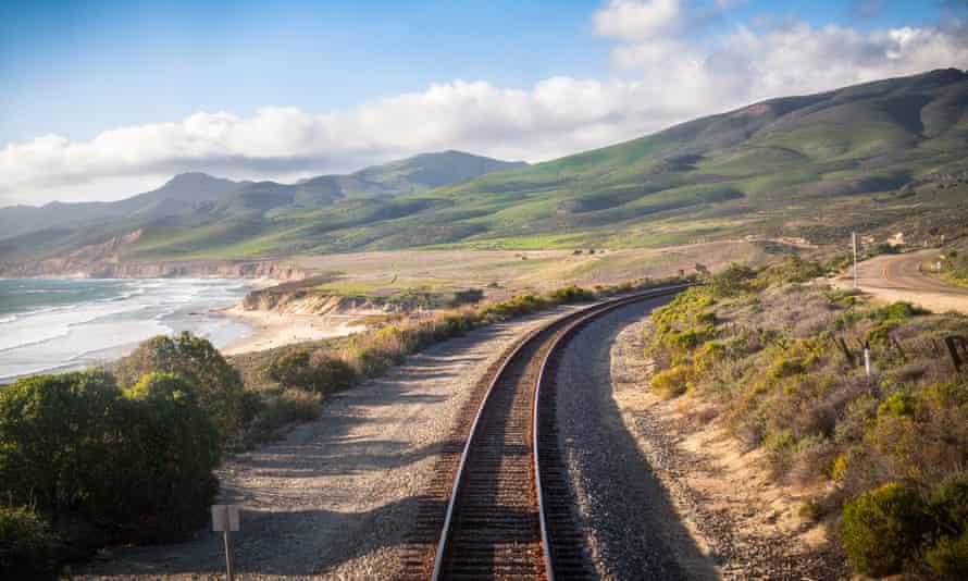 Railroad on the Californian coast.