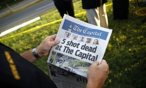 The Capital Gazette on 29 June 2018, the day after a shooting at the newspaper's offices. Staff had vowed 'we are putting out a damn paper' after the incident.