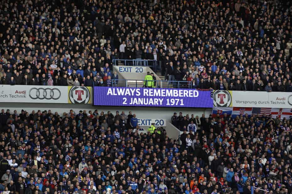 A screen at Ibrox on the 40th anniversary of the disaster on 2 January 2011.