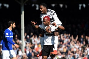 Ryan Babel of Fulham celebrates with teammate Ryan Sessegnon after scoring his team's second goal.
