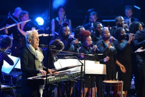 John Cale and the House Gospel Choir perform a trip-hop Space Oddity.