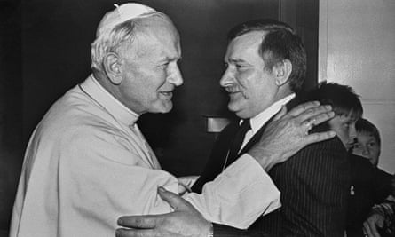 Pope John Paul II hugs Lech Walesa, leader of Poland's Solidarity trade union during his visit to the northern port of Gdansk, 11 June 1987.