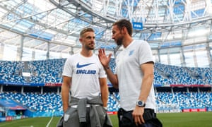 Gareth Southgate and Jordan Henderson inspect the stadium in Nizhny Novgorod, where the on-pitch temperature could be well over 30C.