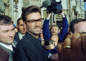 George Michael outside the Royal Courts of Justice in London at the start of his lawsuit against Sony Music in October 1993.