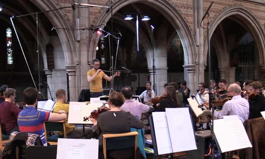 John Wilson and the Sinfonia of London recording English Music for Strings at St Augustine's, Kilburn.