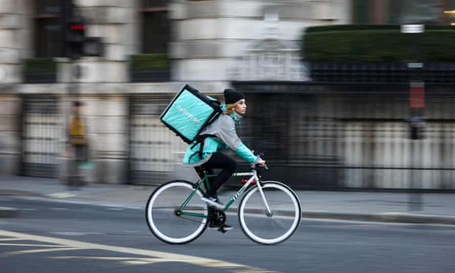 A food delivery courier in London
