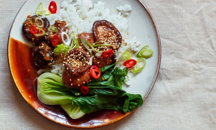 Thomasina Miers' sticky mushrooms with jasmine rice and spring onions