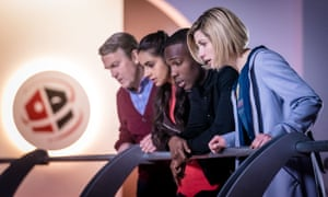 Bradley Walsh, Mandip Gill, Tosin Cole and Jodie Whittaker in Doctor Who.